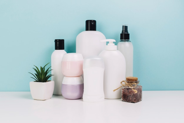 Cosmetics jars and bottles near plant