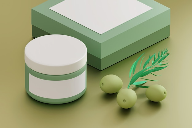Cosmetics mockup template with cream jar, box and olives