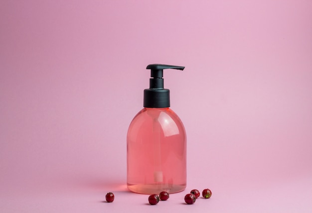 Cosmetics on pink. minimalism. skincare.