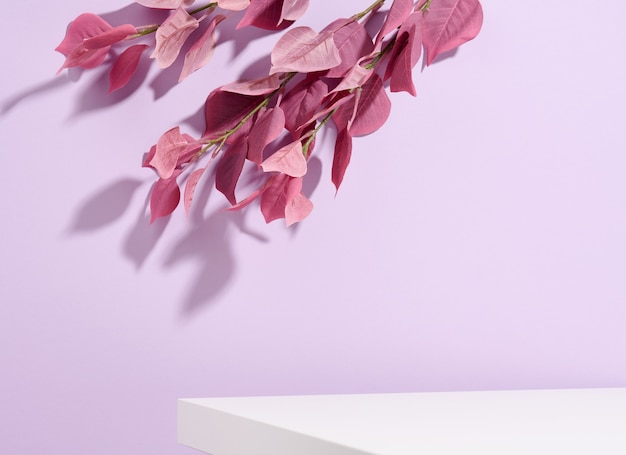 보라색 잎이 있는 화장품 제품 광고 스탠드. 제품, 판촉, 판매, 화장품 프레젠테이션을 위한 컨셉 장면 무대 쇼케이스. 최소한의 쇼케이스