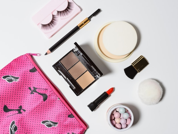 Cosmetics set isolated on a white background