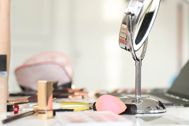 Cosmetics on the table