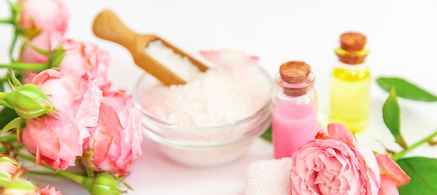 Cosmetics with rose flower extract.