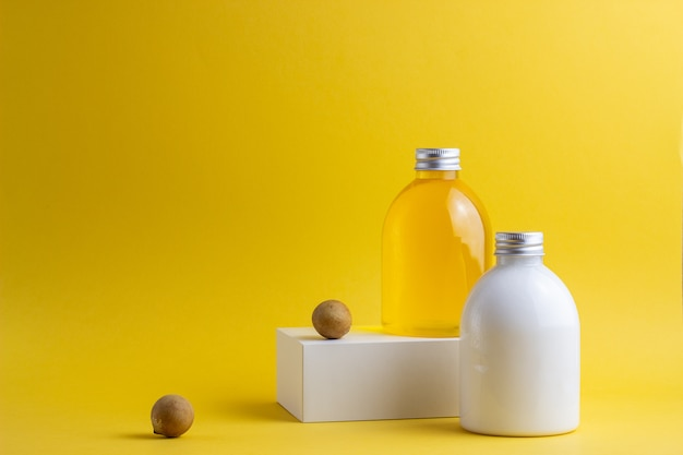 Cosmetics on yellow. minimalism. skincare.