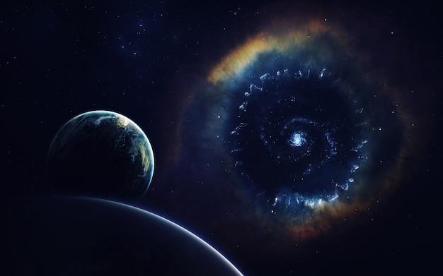 Космическое искусство, научная фантастика. гигантская туманность. миллиарды галактик во вселенной.
