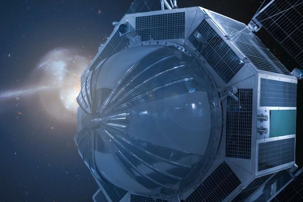 Космическая автостанция в космосе. вид на галактику. элементы этого изображения предоставлены наса ãƒâ 'â °