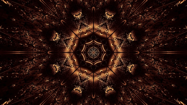 茶色と金色のレーザー光の宇宙背景