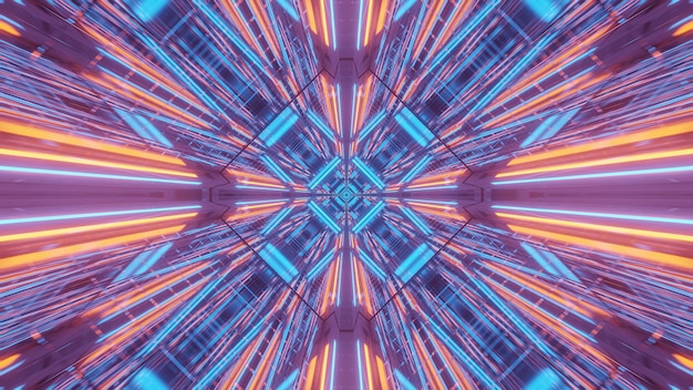 紫青とオレンジのレーザー光の宇宙背景放射-デジタル壁紙に最適