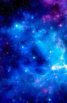 푸른 성운과 밝은 별 무리가 있는 우주 배경