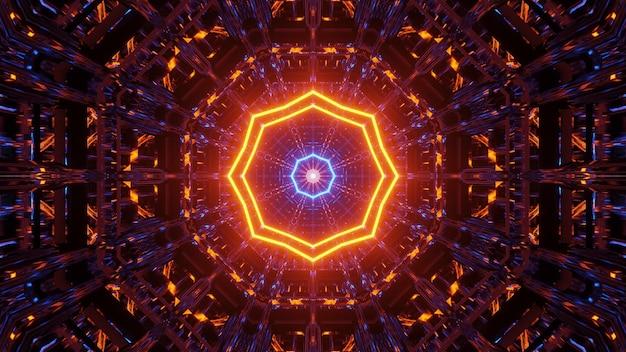 青とオレンジのレーザー光のパターンと宇宙背景
