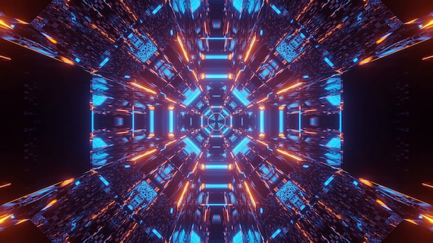 青とオレンジ色のレーザー光で宇宙背景