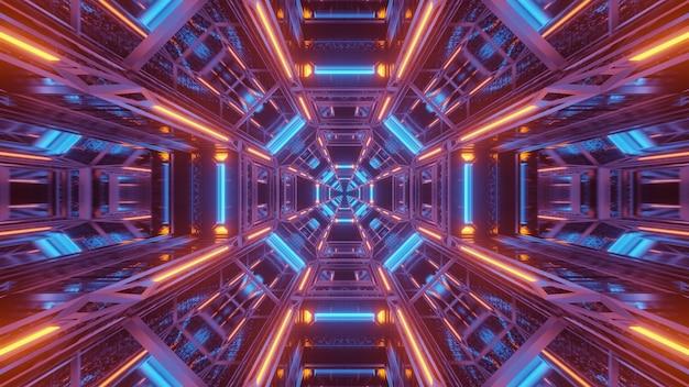 青とオレンジ色のレーザー光と宇宙背景