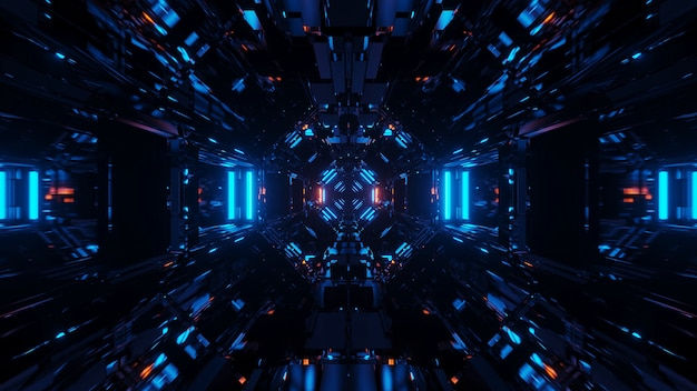 Sfondo cosmico con luci laser blu con forme fantastiche - perfetto per uno sfondo digitale