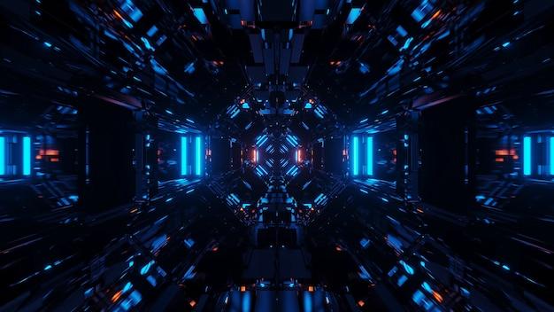 멋진 모양의 파란색 레이저 조명으로 우주 배경-디지털 벽지에 적합