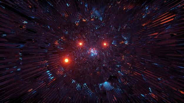 화려한 레이저 조명으로 우주 배경