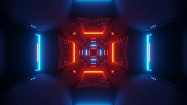 カラフルな赤と青のレーザー光で宇宙背景放射-デジタル壁紙に最適
