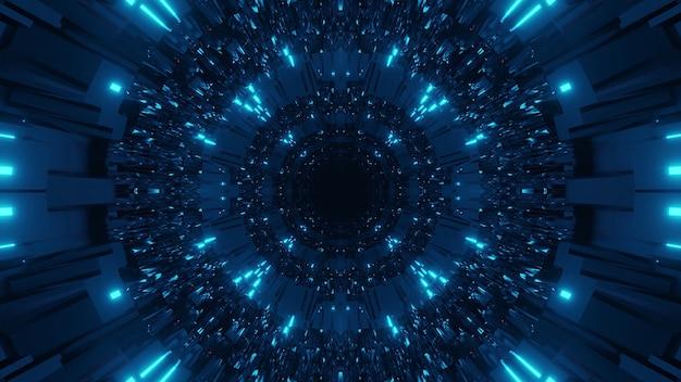 어둡고 밝은 파란색 레이저 조명이있는 우주 배경-디지털 벽지에 적합