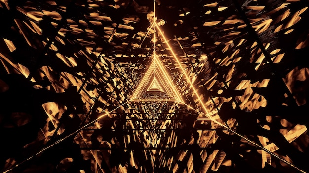 Космический фон с золотыми неоновыми лазерными огнями - идеально подходит для цифрового фона