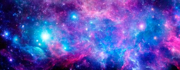 現実的な星雲と輝く星のある宇宙背景放射。