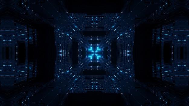 블루 네온 레이저 조명이있는 우주 환경-디지털 벽지에 적합