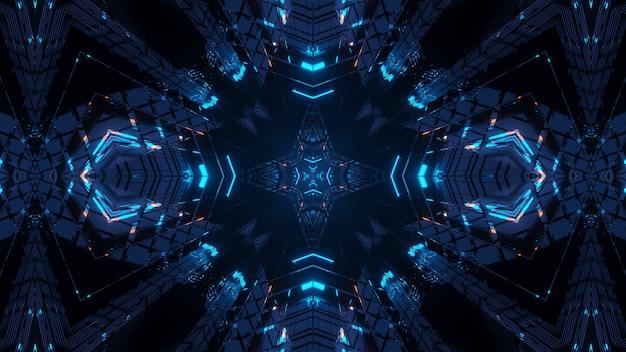 화려한 네온 레이저 조명이있는 우주 환경-디지털 벽지에 적합