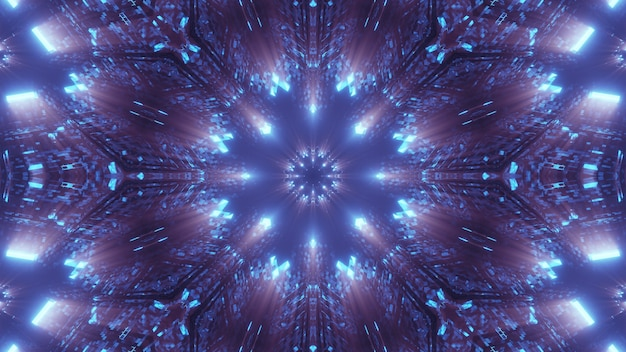 화려한 네온 레이저 조명이있는 우주 환경