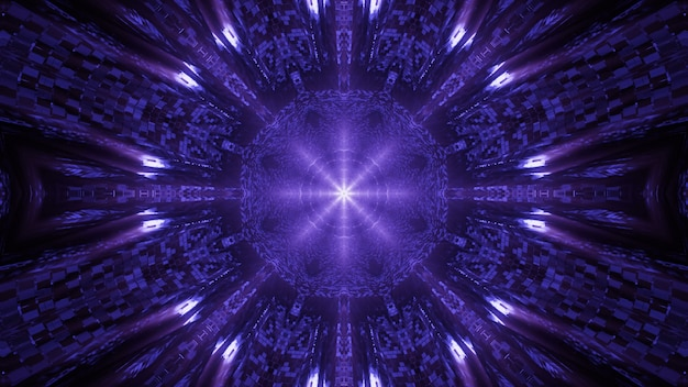 Cosmic environment with purple neon laser lights