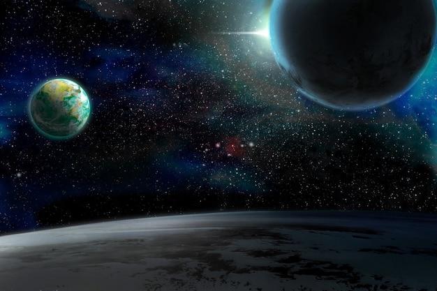 행성과 별 일러스트와 함께 우주 은하 배경