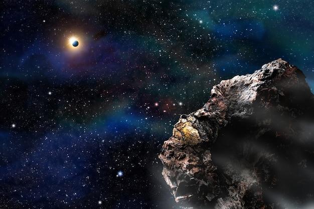 惑星や星と宇宙銀河の背景