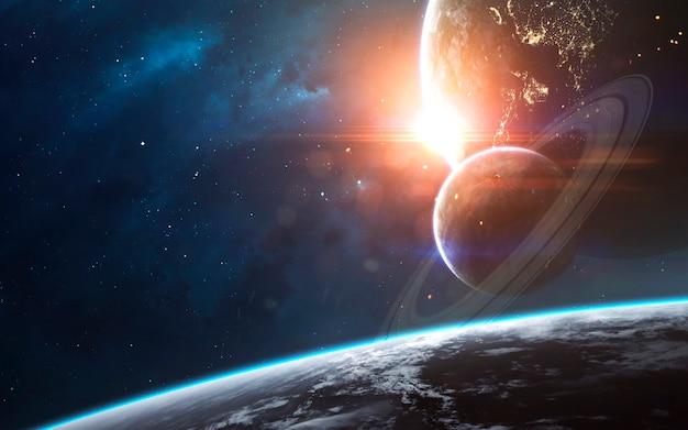 우주 풍경, 끝없는 깊은 공간이있는 아름다운 공상 과학 벽지. nasa에서 제공 한이 이미지의 요소