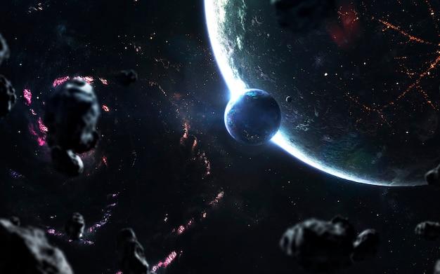 Космический пейзаж, красивые фантастические обои с бесконечным глубоким космосом. элементы этого изображения, предоставленные наса