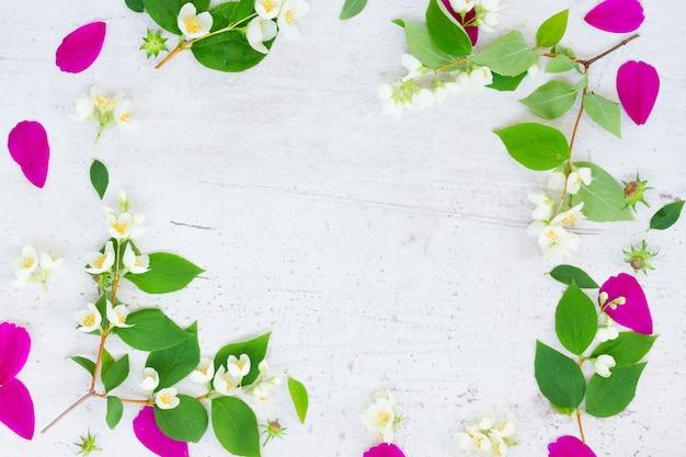 コスモスとジャスミンの生花と葉のお祝いのフレーム構成