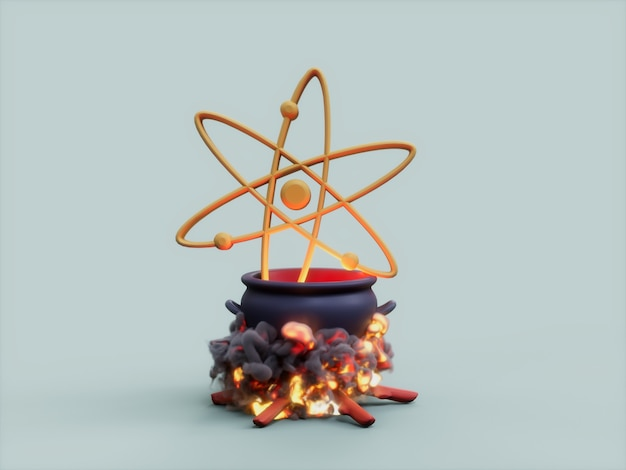 Cosmos atos cauldron fire cook crypto 통화 3d 그림 렌더링