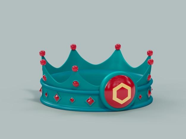 Космос atoscrown king победитель чемпион криптовалюты 3d визуализации иллюстрации