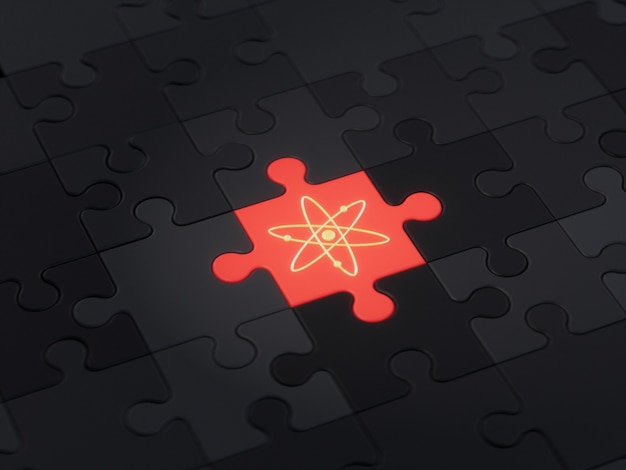Cosmos atosdifferent unique jigsaw puzzle piece crypto currency 3d illustration concept render