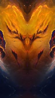 Космос демон вселенная галактика, вселенская туманность хаоса звезд абстрактный фон Premium Фотографии