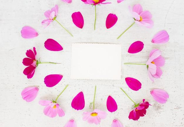 Космос свежие розовые цветы праздничная композиция на белом столе