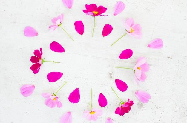 Космос розовые цветы и лепестки праздничная композиция на белом столе