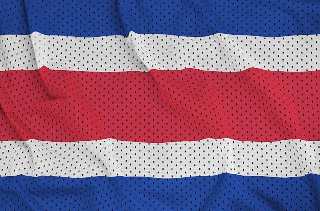 Costa rica flag printed on a polyester nylon sportswear mesh fabric