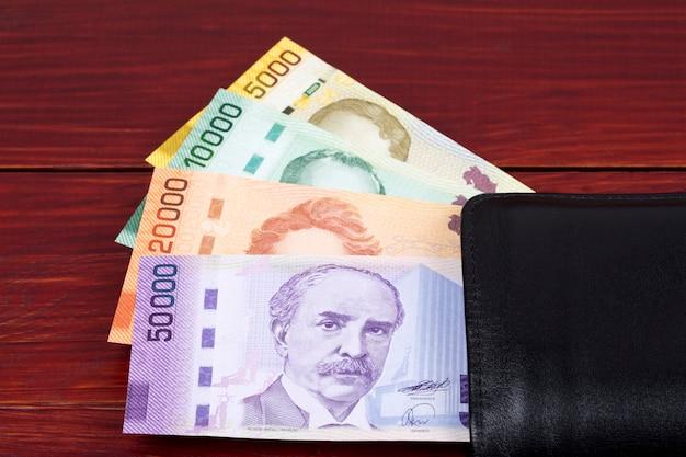 Costa rican money - colon in the black wallet
