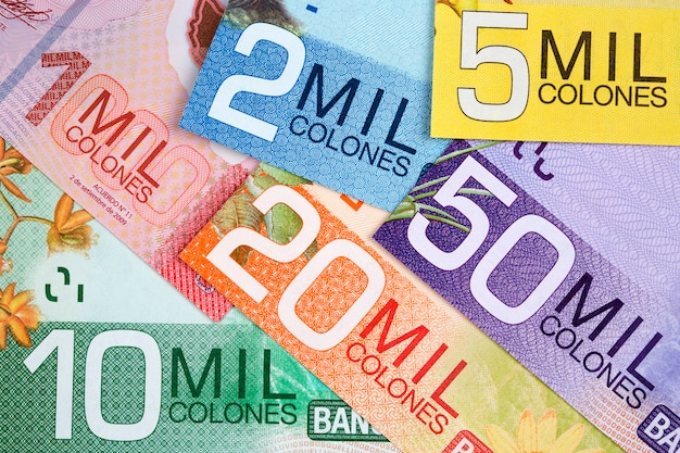 Costa rican money - colon a business surface
