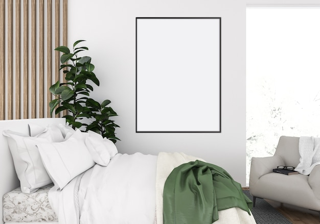 Cosy bedroom, vertical frame mockup, artwork display
