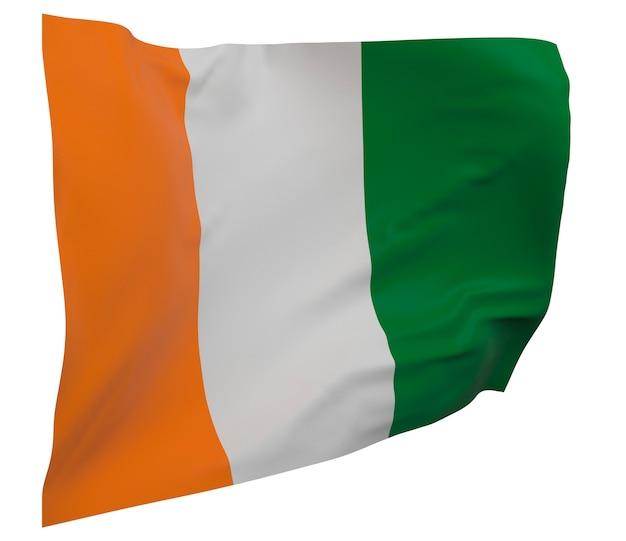 Кот-д'ивуар - изолированный флаг кот-д'ивуара. размахивая знаменем. государственный флаг кот-д'ивуара - кот-д'ивуар