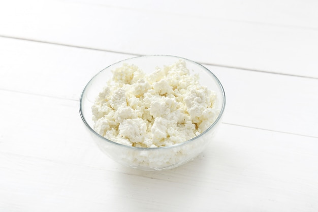 Cottage cheese on bowl