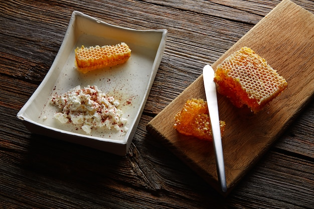 Cottage cheese curd with honey honeycomb