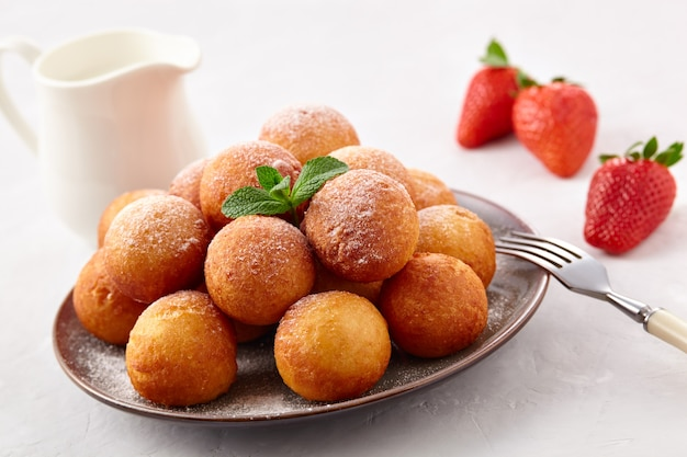 Cottage cheese donuts balls on a plate