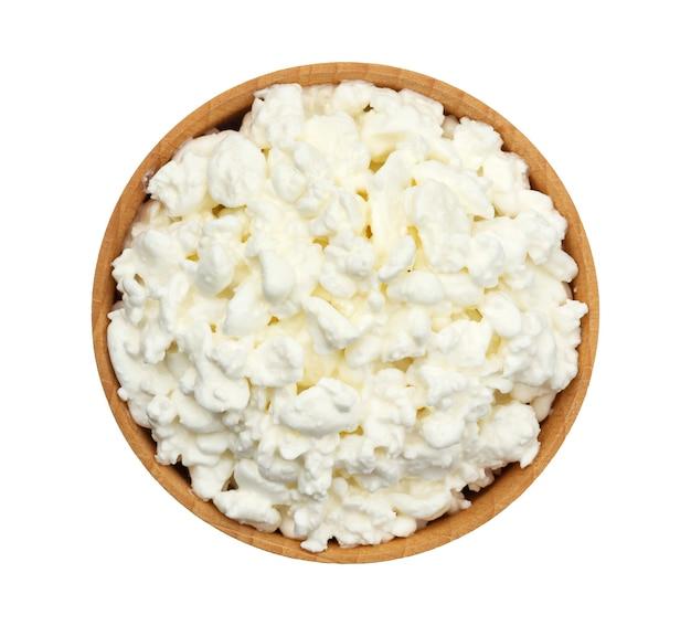 코티지 치즈 흰색 배경 평면도에 고립