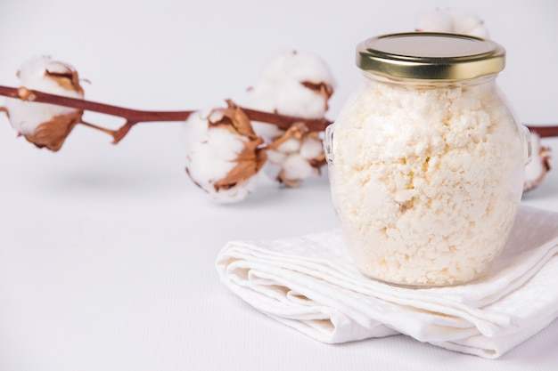 Cottage cheese. white background. s