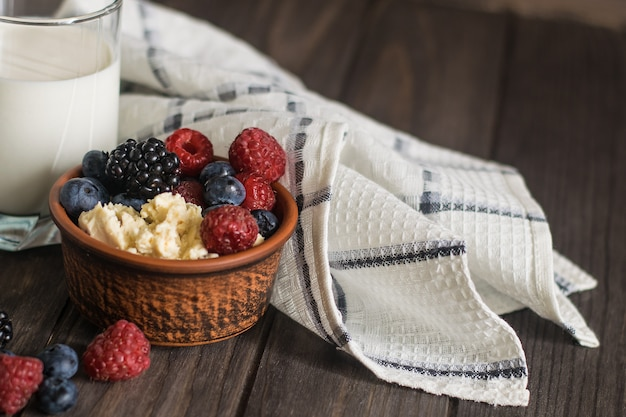 Cottage cheese with berries mix including raspberry, blueberry and blackberry