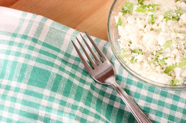Cottage cheese with chopped parsley.